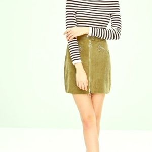 Zaful  Corduroy Zip Fitted Skirt